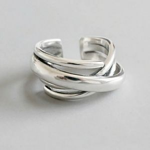 NEW 925 STERLING SILVER PLATED CRISS CROSS RING